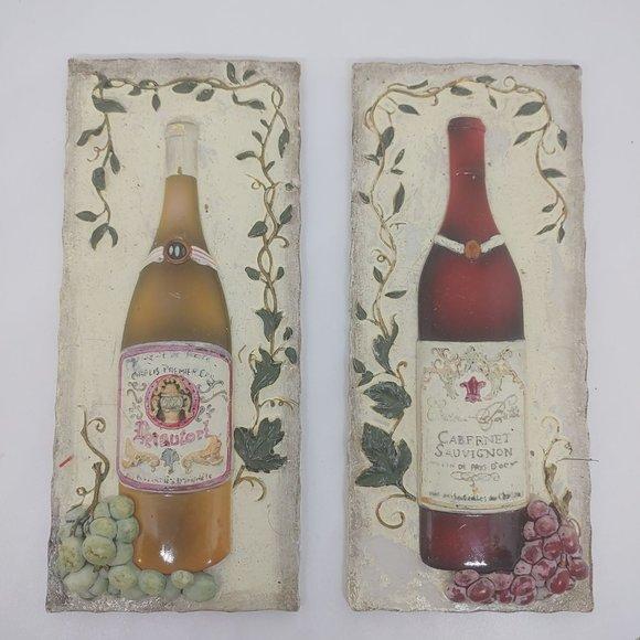 Rustic wine bottle grape vine home decor plaques